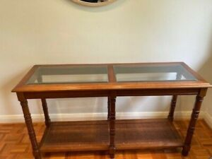 Solid Wood + Glass Brown Stained Wooden Console / Hallway Table
