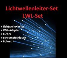 LICHTWELLENLEITER SET 6M05 = 5x Adapter + 6m Glasfaser 0,5mm + Kleber + Bohrer