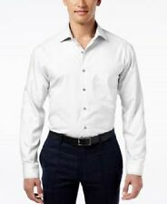 $55 ALFANI Men REGULAR-FIT SOLID WHITE CASUAL PERFORMANCE DRESS SHIRT 17.5 36/37