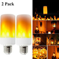 2Pack LED Flame Effect Fire Light Bulb E27 Flickering Simulated Lamp Party Decor