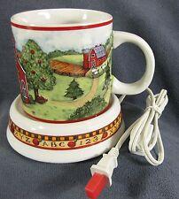Susan Winget School Days Coffee Mug & Matching Warmer 16oz Bus Farm Schoolhouse