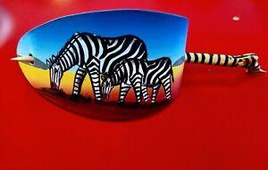 African Handpainted Zebra Leather Hair Barrett Clip 02
