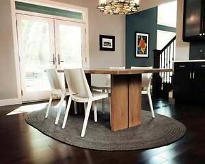Black Rug Jute Natural Braided Handmade Oval 180x270 Cm Reversible Floor Living