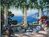 "MEDITERRANEAN REPOSE COASTAL SEA VIEW ITALY EUROPEAN 53"" TAPESTRY WALL HANGING"