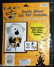 "NIP Fur Brainz ""Goofy Ghost"" 2 pc. Pet Costume Dog Cat Adjustable Halloween OSFM"