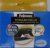 X2 FELLOWES VIRASHIELD KEYBOARD CLEANING KIT WITH BYOTROL ECO FRIENDLEY X2 PACKS
