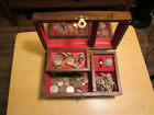 Junk Drawer Vintage Jewelry Box Seterling Old Coins 10k Rolled Gold Plate Watch