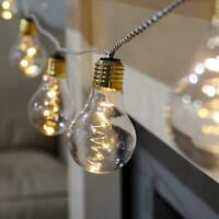 Battery Power LED Festoon Globe Party Lights on Fabric Cord | Indoor Firefly