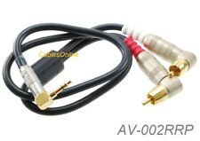 2ft Premium 3.5mm Stereo Male to Dual RCA Male Right-Angle/Right-Angle Cable