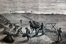 Bull Run Virginia 1869 FARMERS HARVESTING on BATTLEFIELD Harpers Print Engraving