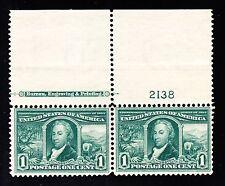US 323 1c Louisiana Purchase Mint Top MI Plate Pair #2138 VF OG NH SCV $170