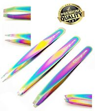 Professional Eyebrow Tweezers Set of 3 - Slant,Straight,Point Tip Rainbow Finish