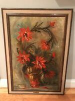 Large Classic Floral Oil Painting On Canvas Framed Artist Signed L. Ritter