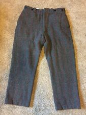 VINTAGE WOOL HUNTING PANTS HEAVY WEIGHT GRAY RED PLAID 32x27 Short Unlined