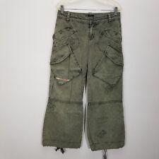 Diesel Womens Pants 27 Distressed Cargo Wide Leg Drawstring Ankle Grunge Skater