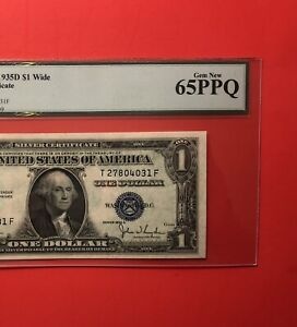 1935 D - $1 SILVER CERTIFICATE NOTE,GRADED BY LEGACY GEM NEW 65 PPQ.