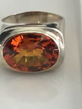 XTRA LARGE DARK CITRINE STIRLING SILVER RING