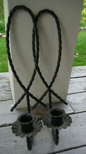 """Vintage Rustic Metal Twisted Candle Holders Wall Sconces, Pair 12"""" Black - EUC"""