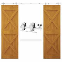5FT-20FT Sliding Door Hardware Kit Track Roller Stainless Steel for Double Door