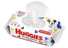 HUGGIES Simply Clean Fragrance-free Baby Wipes, Soft Pack (64 Sheets Total)