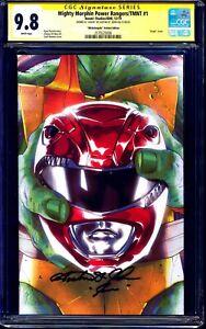 Mighty Morphin Power Rangers TMNT #1 CGC SS 9.8 signed Austin St John RED RANGER
