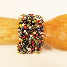 "1 1/2""  Braided Multi Color Handmade Stretch Elastic Seed Bead Cuff Bracelet"