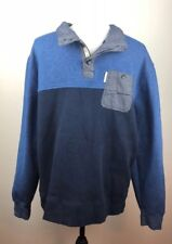 Mark Ecko Cut & Sew Mens size XL Blue 1/2 Button Collared Sweatshirt Pullover