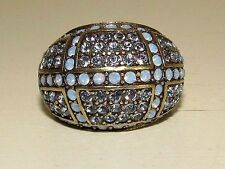 HEIDI DAUS Dome Style Blue Pave Crystal/Gold Tone High Fashion Ring Size 8 Boxed