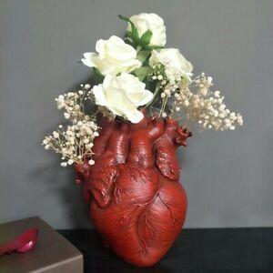 Artificial Heart Sculpture Vase Anatomical Heart Shape Art Resin Flower Vases