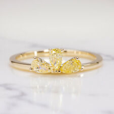 FANCY YELLOW VS1 DIAMOND COCKTAIL RING OMBRE PEAR CUT MODERN STACKING RING GOLD