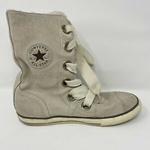 Converse Chuck Taylor All-Star Beverly Beige Suede Lace-up Boots Womens Size 8