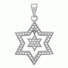 Dancing Jewish Star Pendant Sterling Silver White CZ Necklace Hand Set