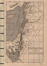 Carte victorienne c1890 les dominions & conquêtes de David et Salomon Saoudite DAMAS