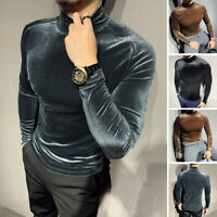INCERUN Mens Velvet Turtle Neck Long Sleeved T-shirt Slim Top Tee Shirt Blouse