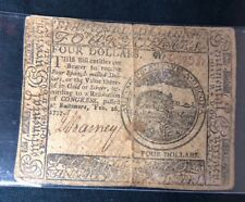 $4 FOUR DOLLARS FEBRUARY 26, 1777 CONTINENTAL CURRENCY BALTIMORE NOTE
