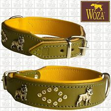 WOZA Premium French Bulldog Collar Bully Full Leather Padded Cow Napa Hand FB790