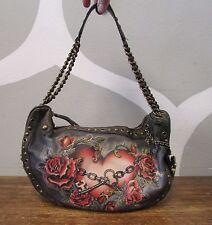 ISABELLA FIORE Distressed Leather Heart Rose Key Studded Grommet Shoulder Bag