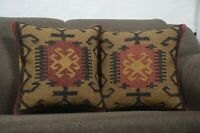 2 Set of Indian Handmade Kilim Rug Throw Jute Vintage Pillow Cushion Cover 8499