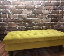 mustard turmeric plush velvet chesterfield  stool footstool coffee table .