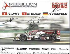 2017 IMSA Sebring 12 Hours REBELLION RACING Hero Card SIGNED