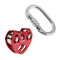 Rock Climbing 25KN Heavy Duty Zip Line Cable Trolley Fast Speed Pulley Red