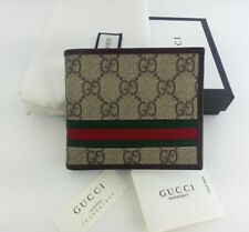 Authentic Gucci Mens GG Supreme Web Bifold Canvas Wallet