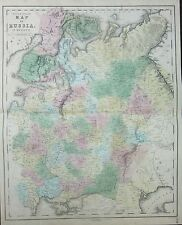 1850 LARGE HAND COLOURED MAP ~ RUSSIA IN EUROPE ~ SMOLENSK VIATKA