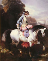 Nice oil painting Alfred Dedreux - An Elegant Equestrienne Young lady on horse