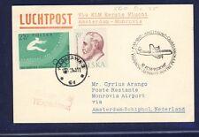 46774) KLM FF Amsterdam - Monrovia Liberia 5.11.60, Karte ab Polen R!