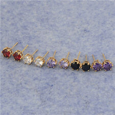 Classic 18K Yellow Gold Filled Rainbow crystal Crystal Womens Stud Earrings