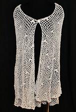 Preston & York BoHo Chic Urban Vtg Knit Crochet Blue Poncho Shawl Cape Top Os