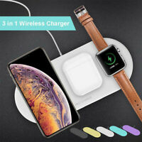 10W Wireless Fast Charger Pad 3 in 1 Qi Holder For iWatch For iPhone 11/Pro/Max
