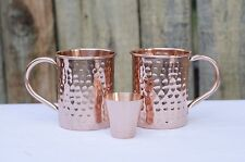 Set of two100% copper heavy duty Moscow Mule 16 oz mugs with a free shot glass