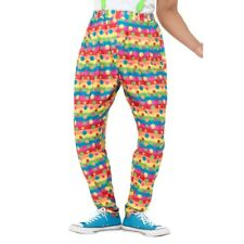 Men's Crazy Clown Neon Spotted Fancy Dress Trousers Circus Ronald MacDonald Stag